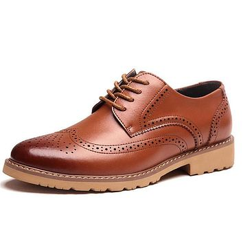 British Brogue Lace Up Leather Office Shoes