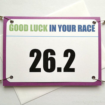 Marathon Good Luck Race Bib Running Greeting Card - You Can Do It - 26.2 Race Number or Personalized Bib Number of Your Choice