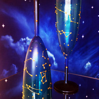 Constellations Set of 2 hand painted wedding champagne flutes Night sky personalized toasting glasses in blue and gold color