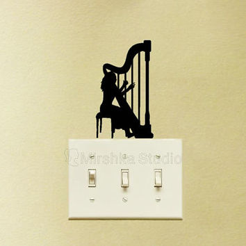 Harp Player Light Switch Fabric Decal - Harp Wall Sticker - Classical Music Wall Art - String Instrument Decor - Girl Decal - Laptop Sticker