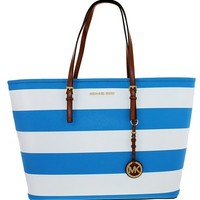 Michael Kors Jet Set Travel Stripe Medium Tote in in summer blue