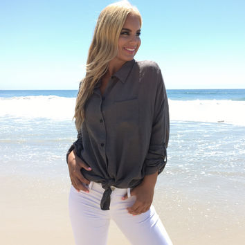 Light & Easy Tunic Top In Charcoal Olive