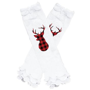 Checkered Buffalo Plaid Leg Warmers Deer Antlers White Ruffle