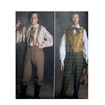 Mens Historical Shirt Pants Pattern 19th Century Civil War Pattern Simplicity 5035 UNCUT Mens Reenactment Sewing Patterns Chest 38 40 42 44