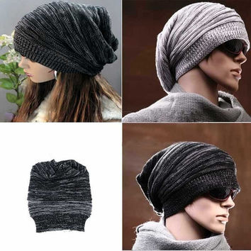 2014 New Popular Hot Sell Attractive Women Men Black/Gray Knit Beret Baggy Beanie Ski Cap = 1958042116