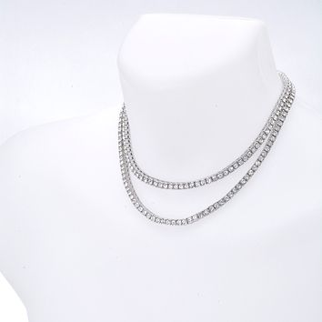 "Jewelry Kay style Men's Iced Out 4 mm Stone 2 Combo Set Short 16"" / 18"" Tennis Chain Necklace"