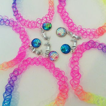 Mermaid scale choker, mermaid tattoo choker, rainbow tattoo choker, rainbow mermaid scales, rainbow tattoo necklace, choker necklace, choker