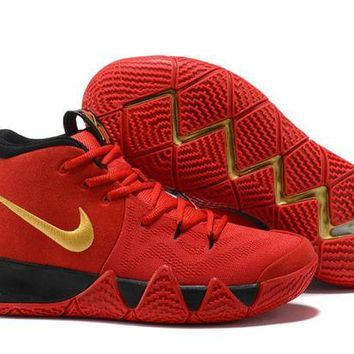 DCCK Nike Men's Kyrie Irving 4 Red/Black/Gold Basketball Shoes US7-12