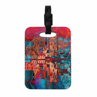 "Suzanne Carter ""Marbled Skyline"" Red Blue Decorative Luggage Tag"
