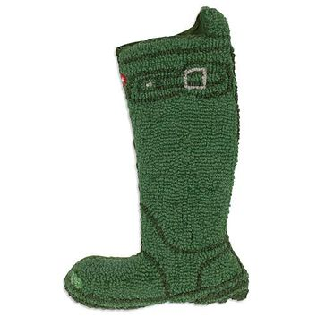 "Green Wellie Boot 9 x 20"" Hooked Wool Christmas Stocking"