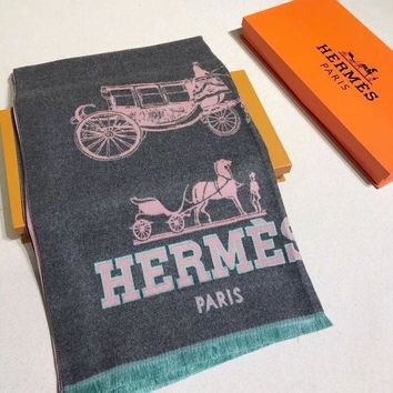 DCCKW2M HERMES Woman Fashion Accessories Sunscreen Cape Scarf Scarves-Gray