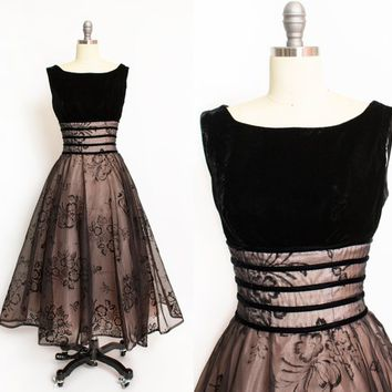 Vintage 1950s Dress - Black Velvet + Flocked Floral Chiffon Full Skirt Party Cocktail 50s - Medium M