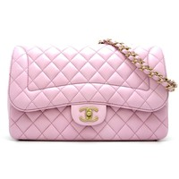 Auth Chanel Pink Lambskin Matelasse Chain Shoulder Bag Gold Hardware (DH46209)