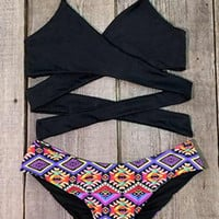 Cupshe Set on Fire Cross Bikini Set