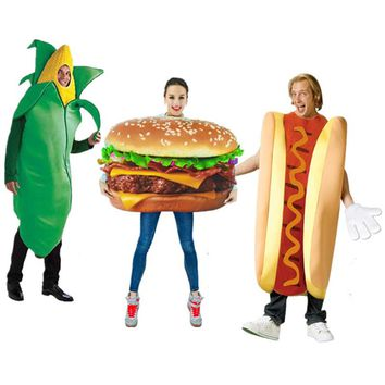 adult pizza Funny hot dog corn Hamburger Costume Party Role Play Outfits Women men Halloween Cosplay Yummy Fast Food Costumes