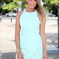 Mint Open Back High Neck Playsuit with Asymmetrical Hem