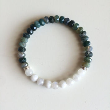 Balance & Inner Growth ~ Genuine Moss Agate and Moonstone Bracelet ~ 6mm Stones