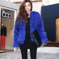 LMFUF3 Imitation fur coat brief paragraph flush coat Blue
