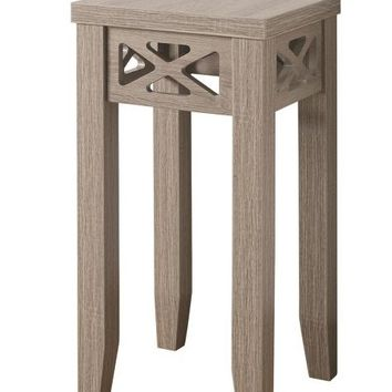 Dark taupe finish wood plant stand with triangular edge accents