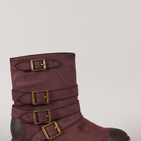 Breckelle Clayton-11 Burnished Strappy Buckle Round Toe Bootie
