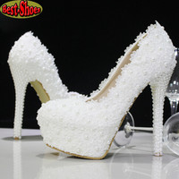2014 New Platform Beautiful Pearl Lace White Wedding Shoes Women Pumps Party Dance Sexy High-Heeled Shoes 10/12/14 cm size 34-39