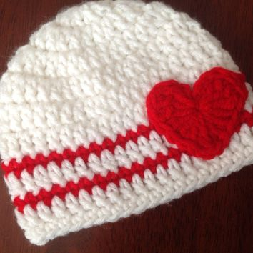 Valentine's Day Crochet Hat Heart Beanie Girls or Boys Valentines Hat Red and White Hat Baby Valentines Hat Valentines Crochet Hat