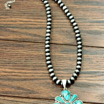 Natural Turquoise Pendant Navajo Pearl Western Necklace