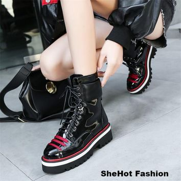 Women PU Leather Fashion High Top Platform Sneakers