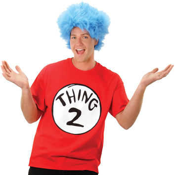 Adult Costume: Cat in the Hat Thing 2 with Wig | Small