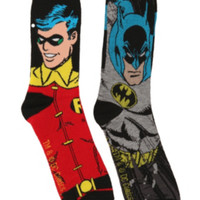 DC Comics Batman And Robin Men's Crew Socks 2 Pack