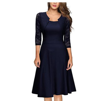 Lace Sleeve Vintage Pleated A Line Skater Dress with Pocket