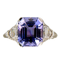 Tiffany & Co Art Deco Natural Sapphire Platinum Ring c1920