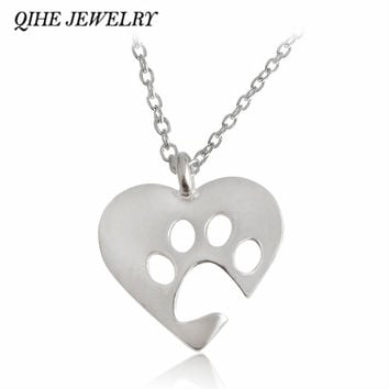 Paw Gold Silver 2 Color Love&Paw Pendant Necklace Animal Pet Memorial Puppy Dog Bear Cat Lover Christmas  Gift