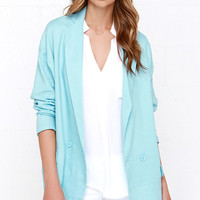 Double Breasted Beaut Light Blue Oversized Jacket