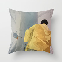 Jurassic Park - Dennis and the Dilophosaurus Throw Pillow by Peter Cassidy