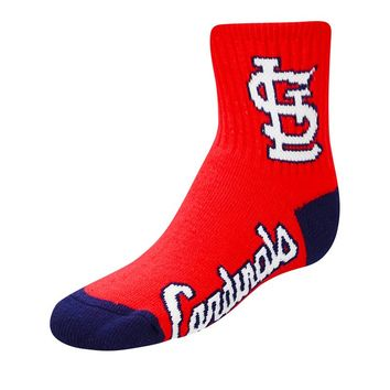 For Bare Feet St. Louis Cardinals Team Color 1/4-Crew Socks - Youth, Size: M (Crd Team)