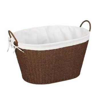 Paper Rope Wicker Laundry Basket Oval