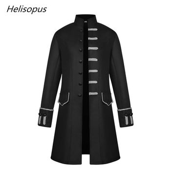 Trendy Helisopus Fashion New Men's Jacket Gothic Steampunk Men Long Jacket Long Steam Medieval Vintage Stand Collar Coat Windbreaker AT_94_13