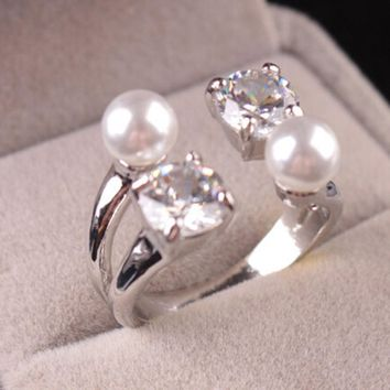 susenstone Hot Selling Fashion Imitation Pearl Lucky Crystal Open Ring Women Adjustable Rings Lover Wedding Engagement Jewelry