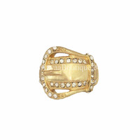 Gold Crystal Buckle Ring