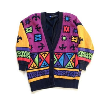 ON SALE - 90s Southwestern Aztec Inspired Sweater - IB Diffusion Sweater - Gift For Her - Bold Pattern - Medium Sweater