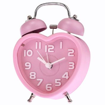Cute Small Double-Bell Night Light Heart Alarm Clock