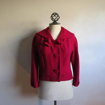 1950s Deep Magenta Sailor Jacket Vintage HENRY Morgan 50s Wool Boucle Crop Blazer SM-MD