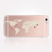 Transparent Daisy World Map iPhone Case - Transparent Case - Clear Case - Transparent iPhone 6 - Gel Case - Soft TPU Case - Samsung S7