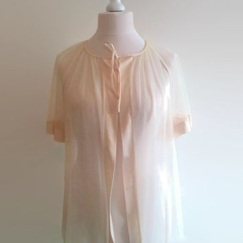 Vintage pale peach peignoir - sheer 70s floor length robe  -  long see through negligee - retro pin up lingerie