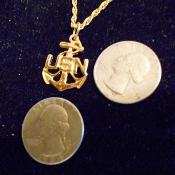 bling 14kt yellow gold plated military seal marine united states navy anchor USN sea ocean pendant charm 24 inch rope chain hip hop trendy fashion necklace jewelry.warship