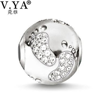 DIY Jewelry Baby Foot Stamp Charms Beads fit for Pandora Bracelets Necklaces European Beads