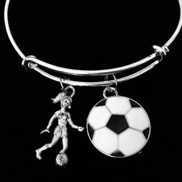 Soccer Player Jewelry Adjustable Charm Bracelet Expandable Silver Bangle One Size Fits All Gift Sports Soccer Ball