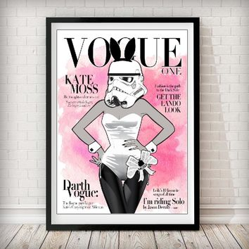 VOGUE Cover - Stormtrooper Kate Moss Pink Watercolor Art Print