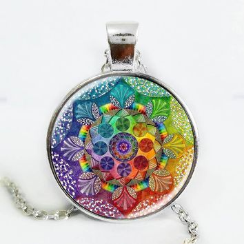 Handmade henna yaga necklace om symbol buddhism Mandala Necklace Pendant Art Jewelry Glass Photo Necklace Silver Plated